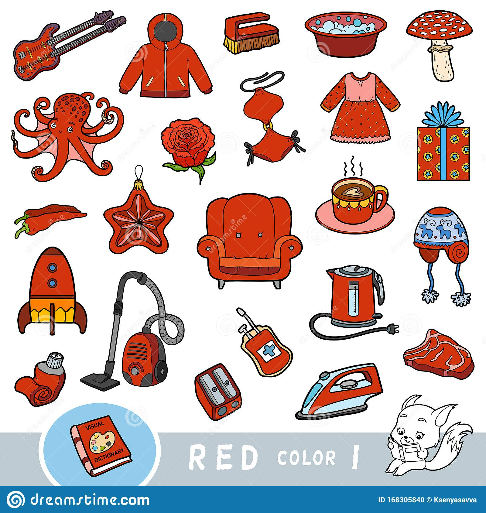 Colorful Set Of Red Color Objects Visual Dictionary For