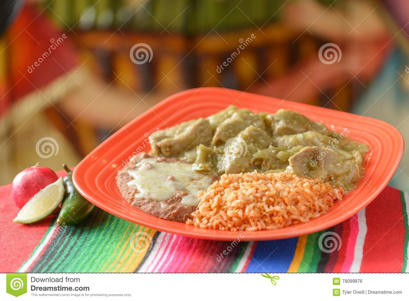 Colorful Traditional Mexican Food Dishes Stock Photo