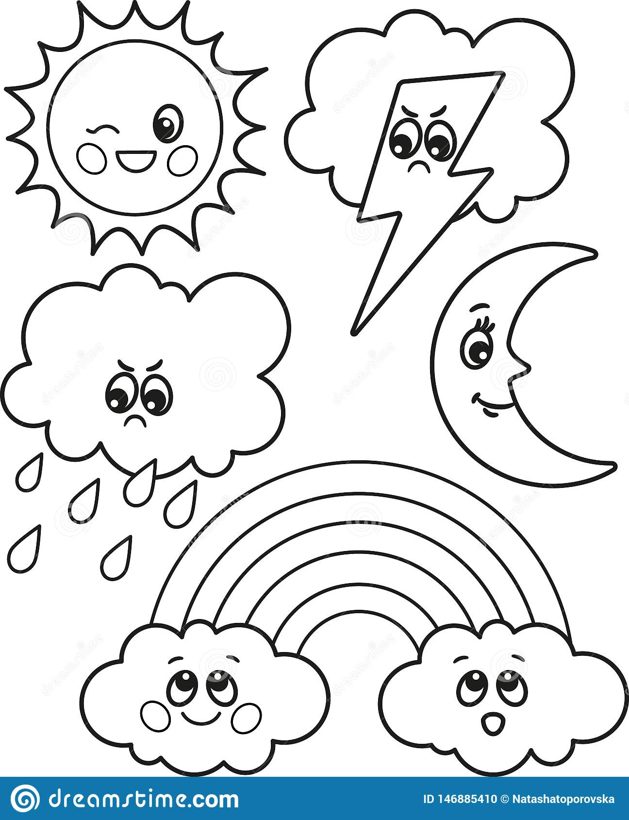 Cute Set Of Cartoon Weather Icons Vector Black And White