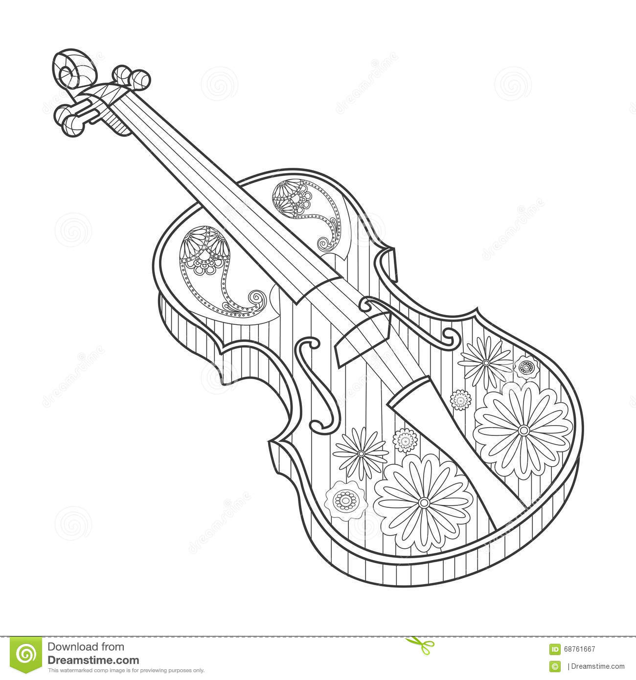 Coloring For Adults Violin Vector Illustration Stock