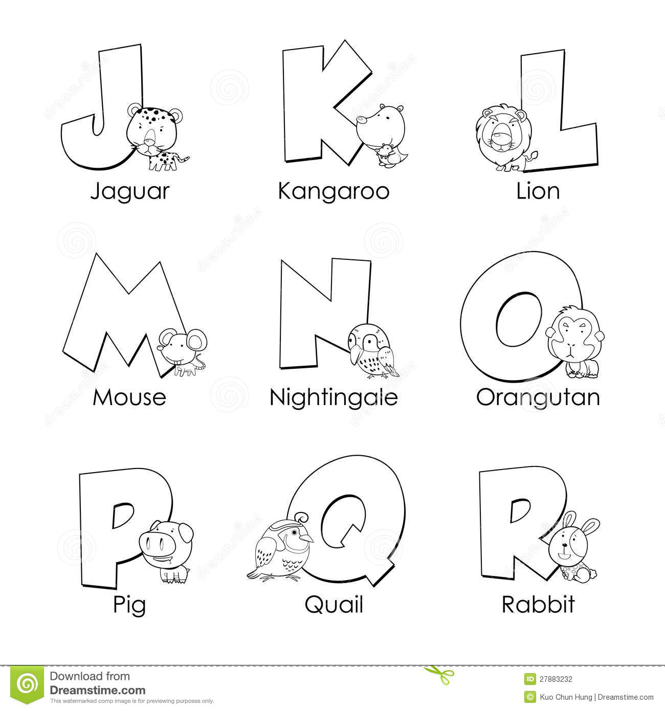 Coloring Alphabet For Kids Stock Vector Illustration Of