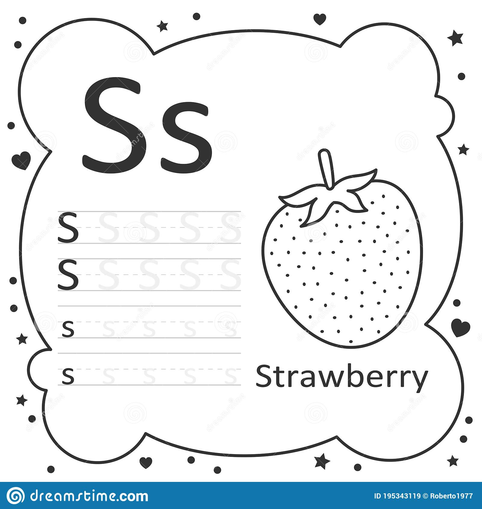 Coloring Alphabet Letters Strawberry Stock Vector