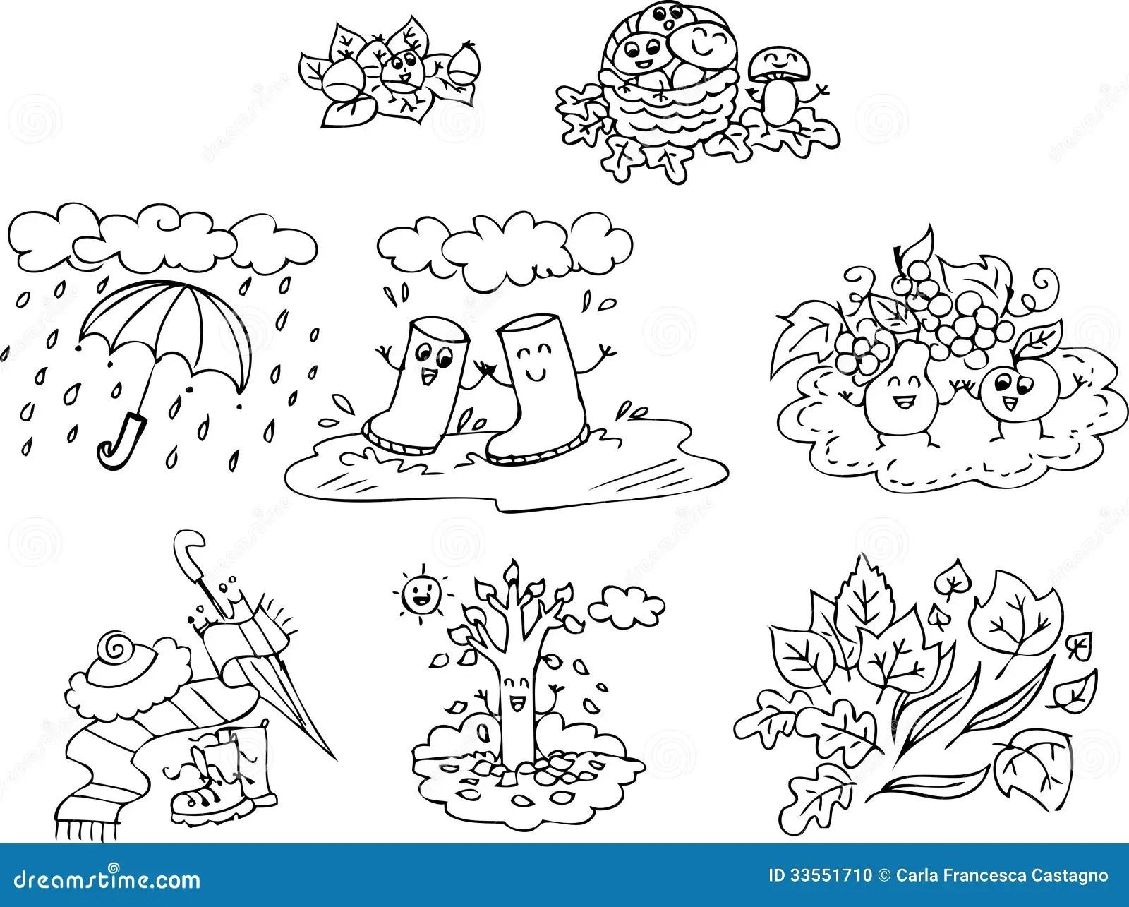 Coloring Autumn Elements Set Stock Vector