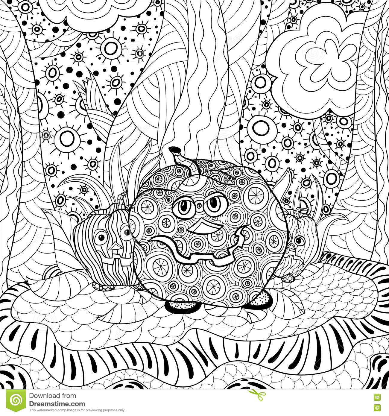 Coloring Book Adult Halloween Stock Vector Image 77554434