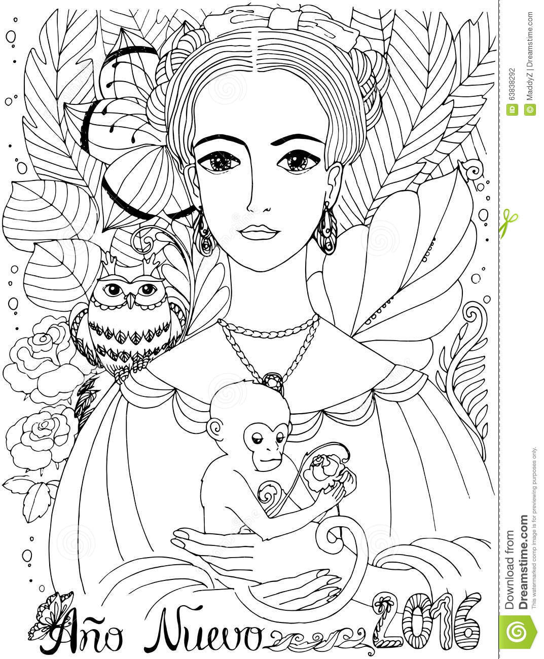 Coloring Book For Adult Young Lady With Owl And Monkey Stock Vector