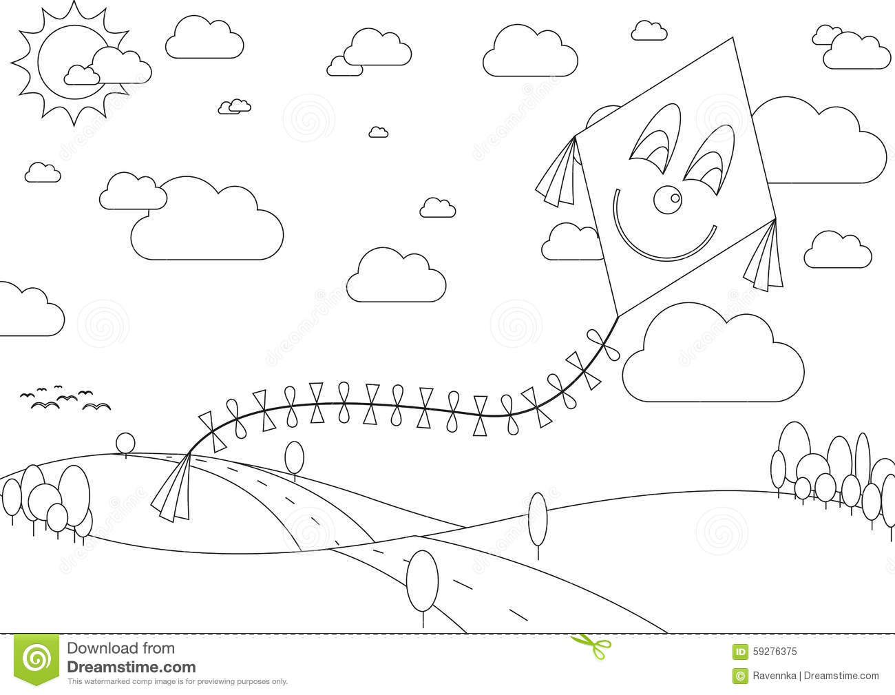 Coloring Book With Autumn Landscape With Kite During Sunny