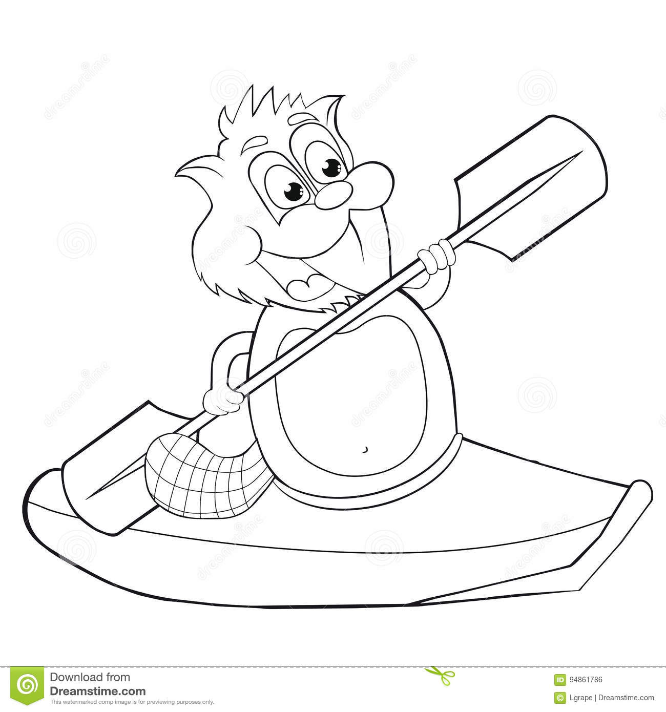 Coloring Book Cartoon Beaver With Canoe Vector Clip Art