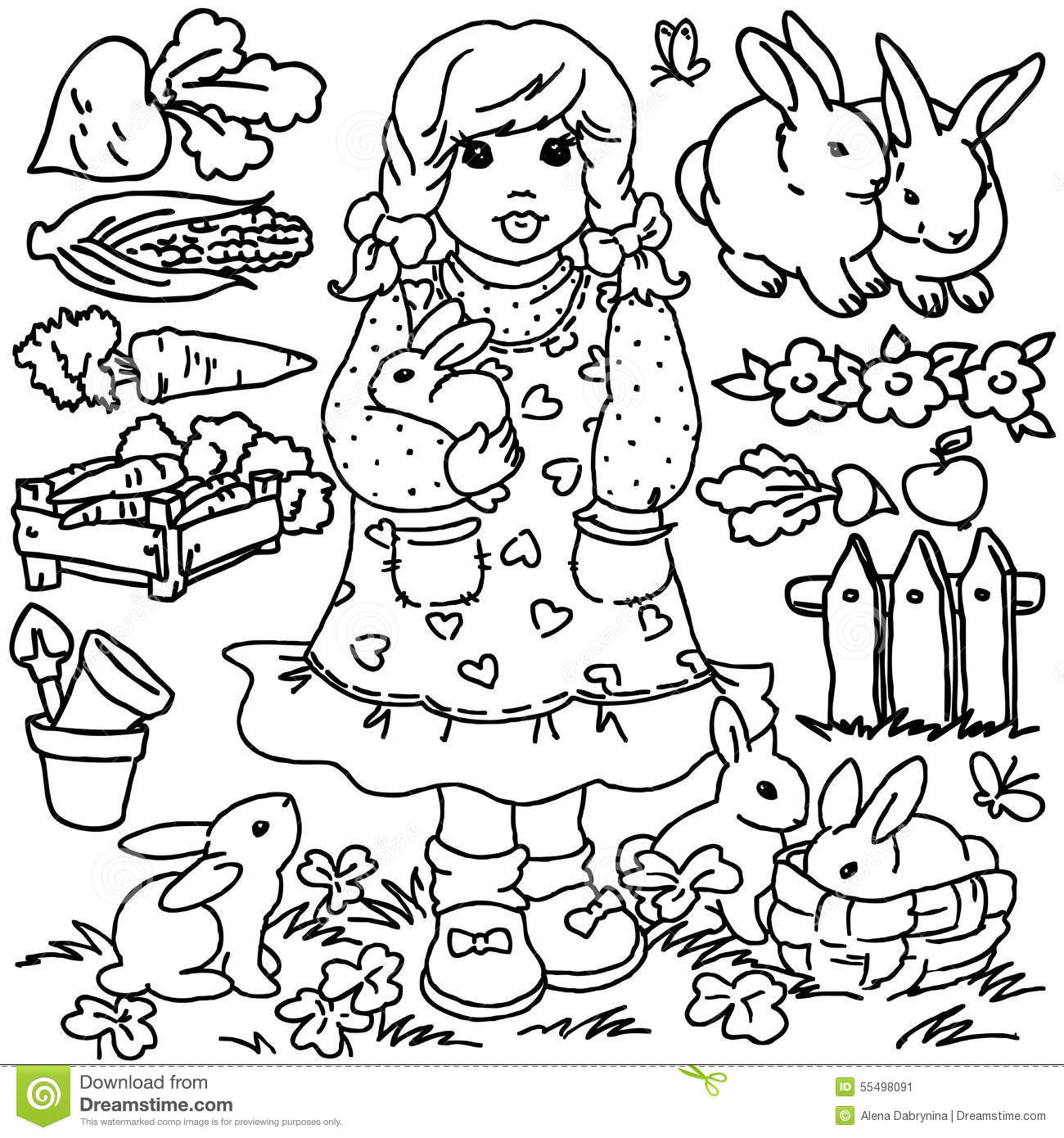 Coloring Book Cartoon Farm Girl And Animals Stock