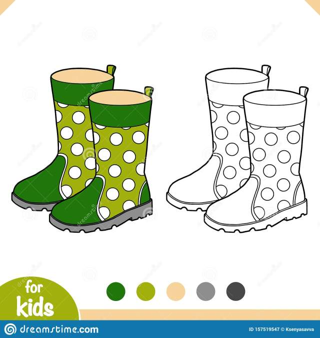 Coloring Book, Cartoon Shoe Collection. Rubber Boots Stock Vector