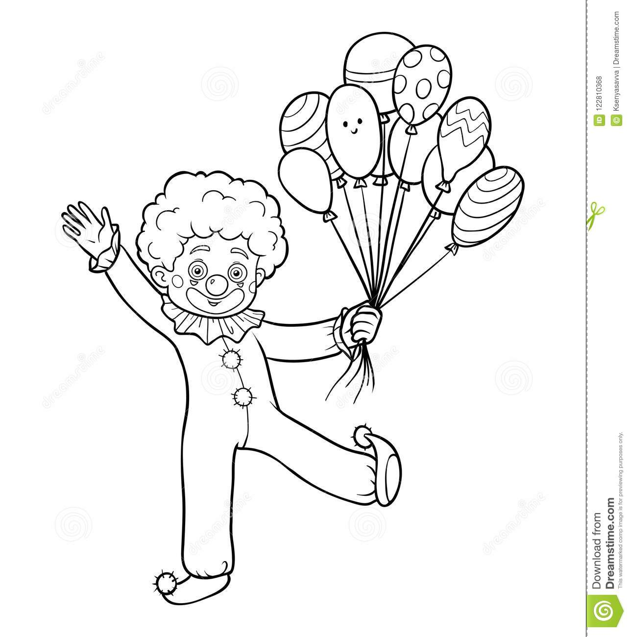 Coloring Book Clown Stock Vector Illustration Of