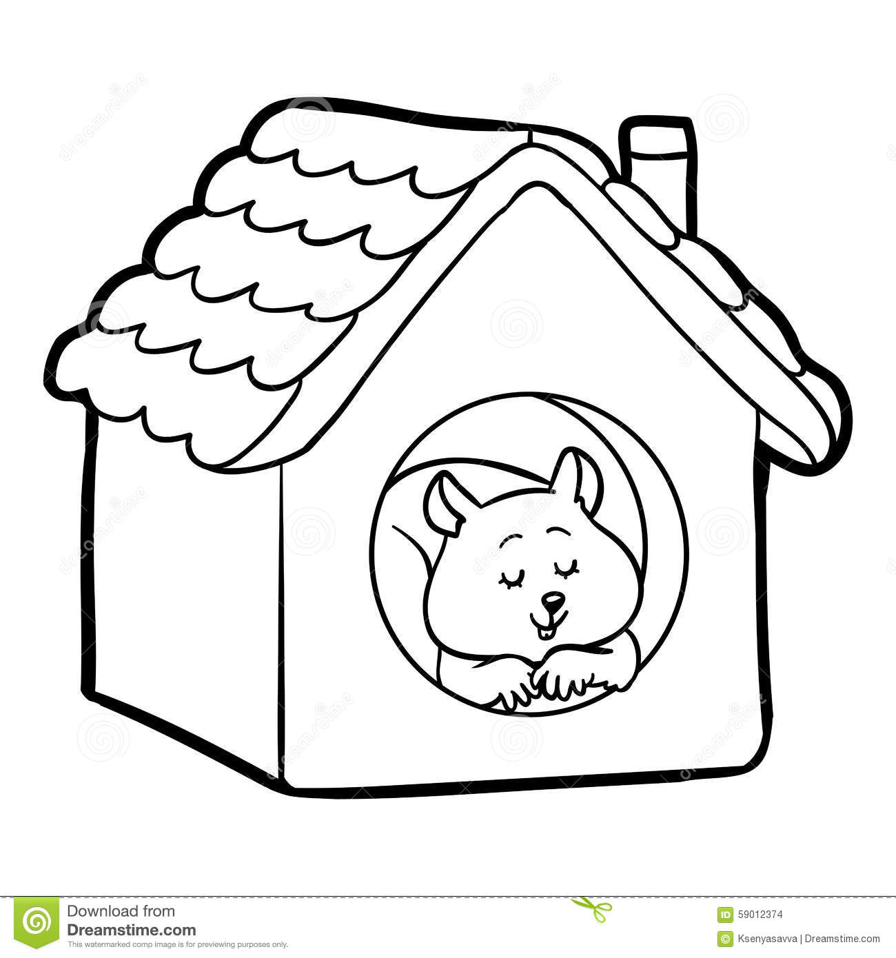 Coloring Book For Children Hamster And House Stock Vector