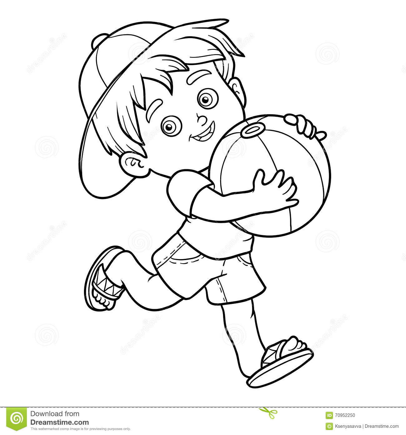 Coloring Book For Children Little Boy With The Ball Stock