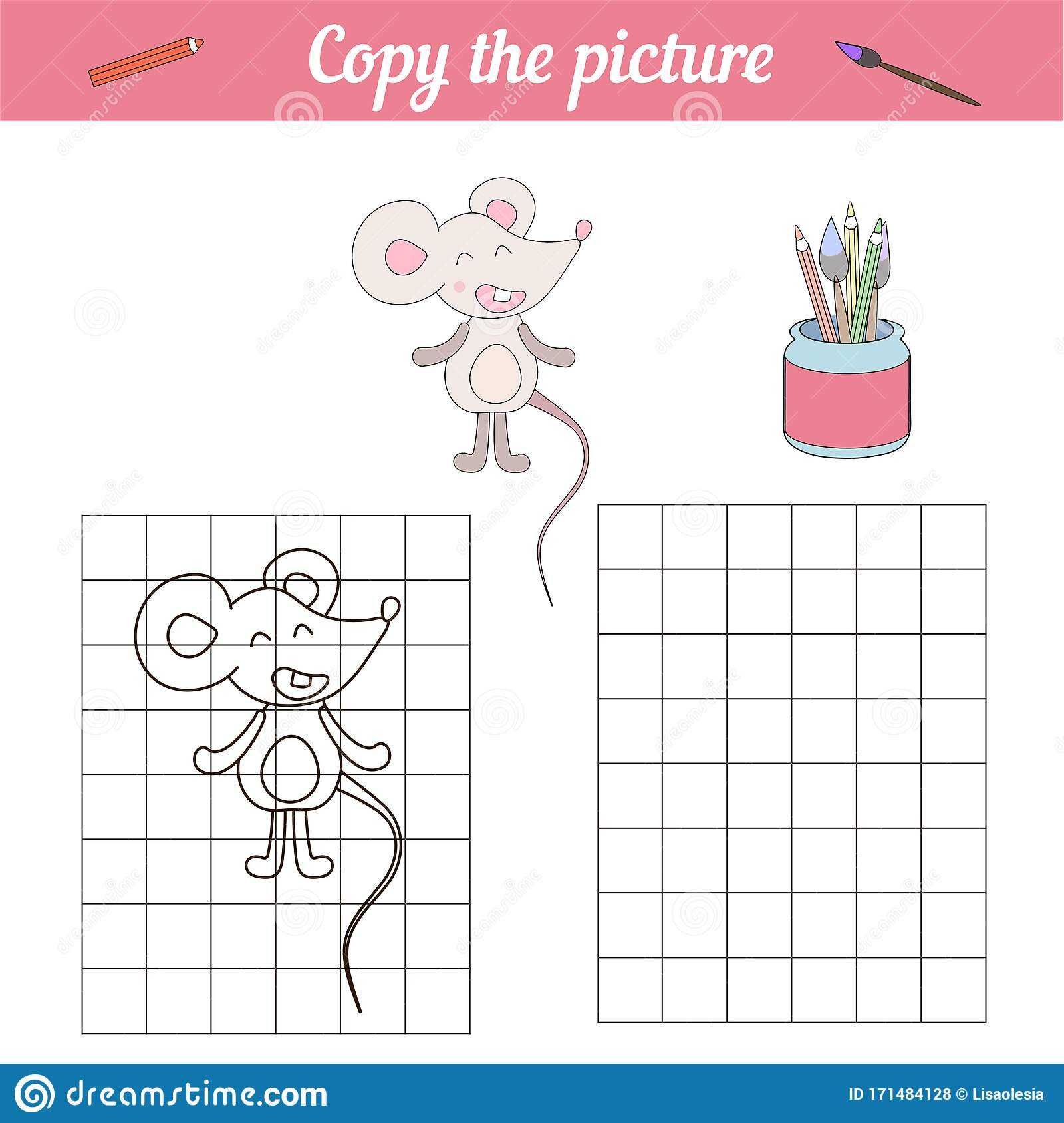 Coloring Book For Children Little Mouse Repeat The