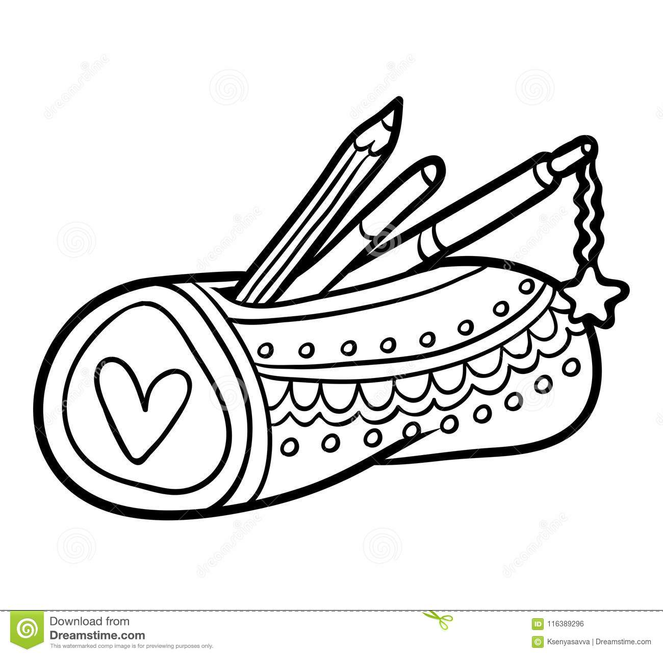 Coloring Book Pencil Case Stock Vector Illustration Of