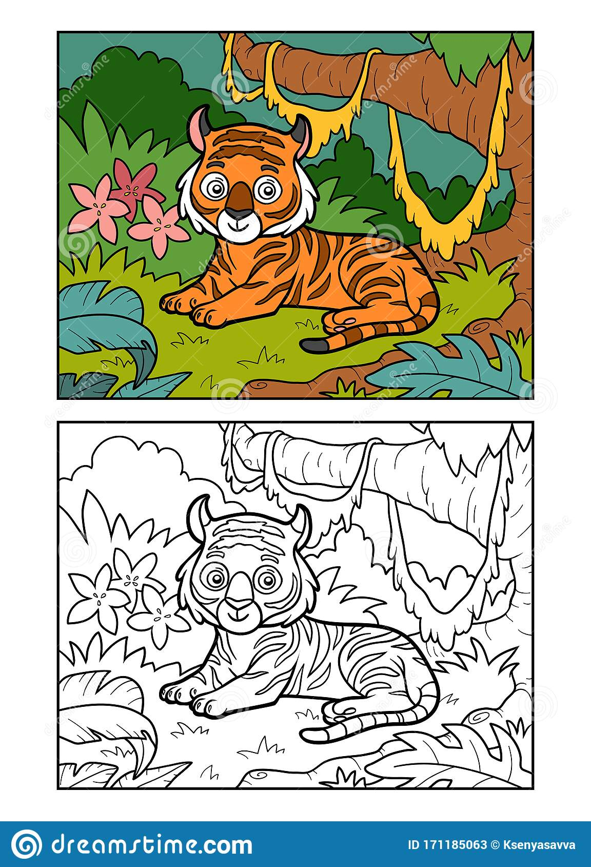 Coloring Book For Children Tiger In The Jungle Stock