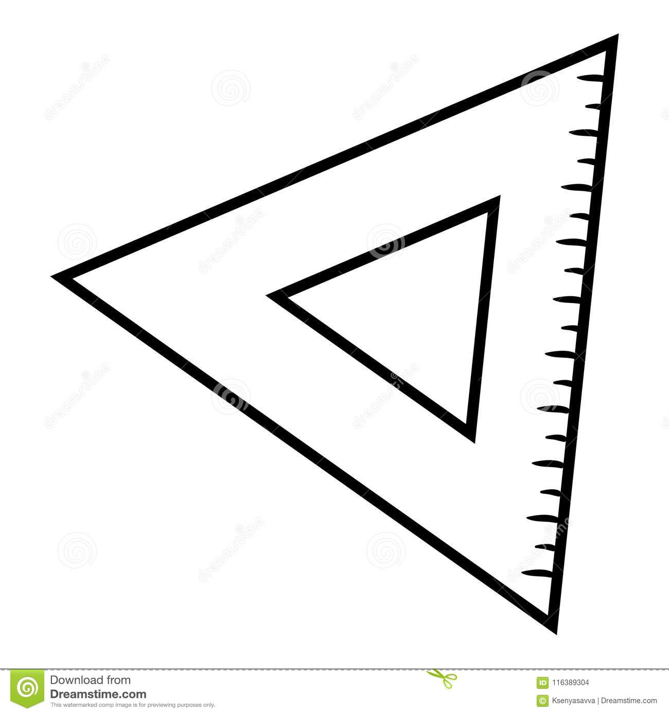 Coloring Book Triangle Ruler Stock Vector