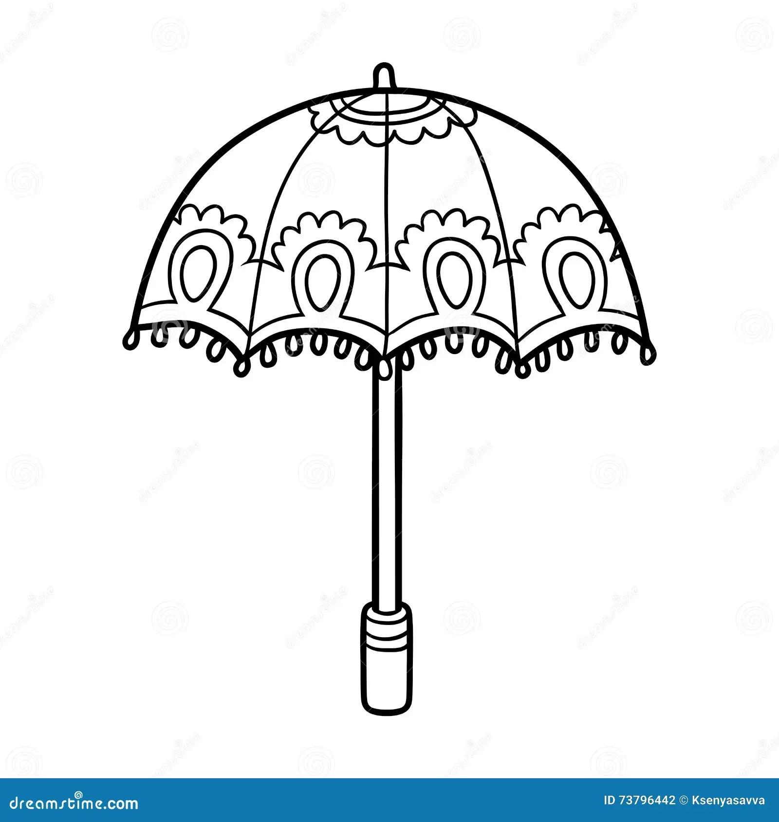 Coloring Book For Children Umbrella Stock Vector