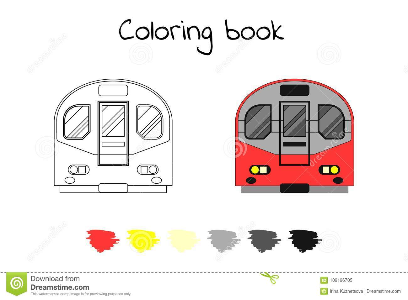 Coloring Book For Children Vector Illustration Subway