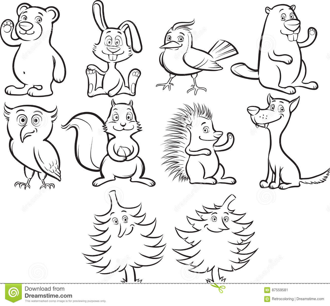 Coloring Book Cute Cartoon Forest Animals Stock Vector