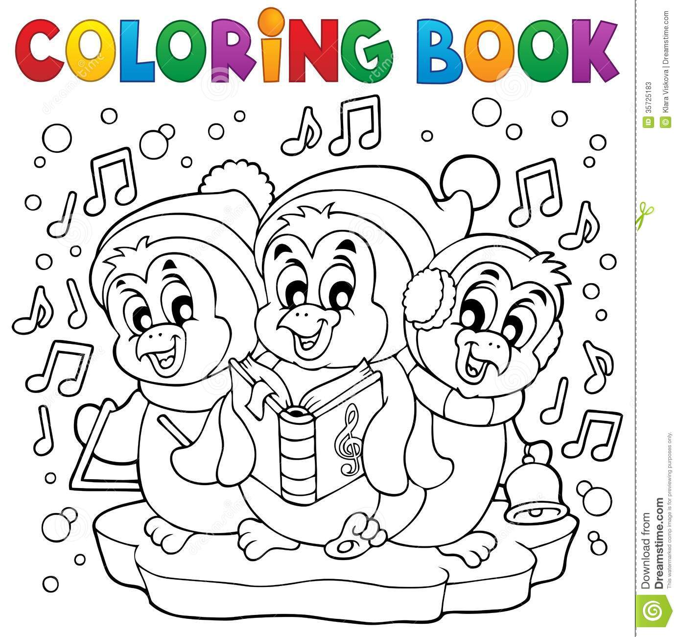 Coloring Book Cute Penguins 4 Stock Vector
