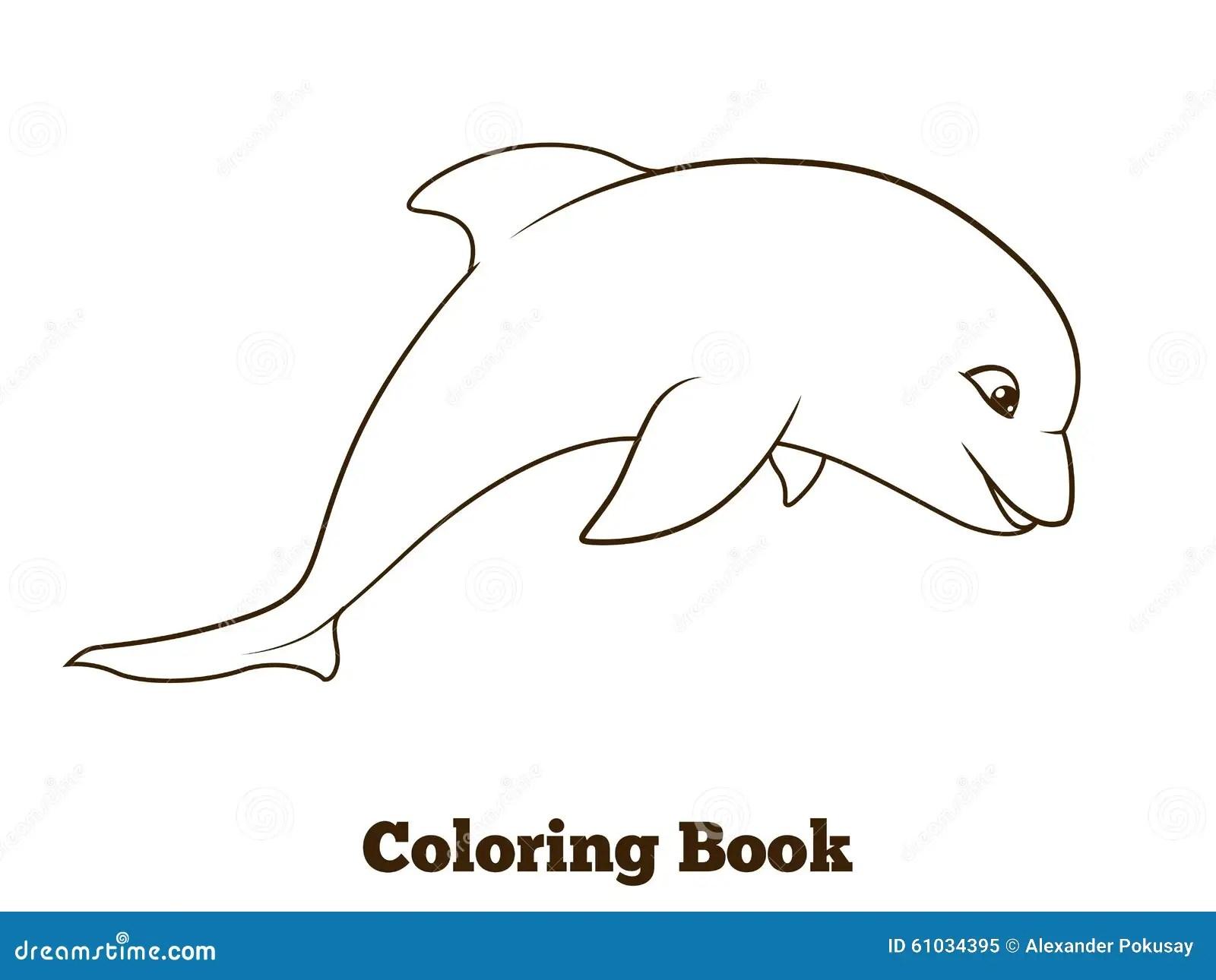 Coloring Book Dolphin Cartoon Educational Stock Vector