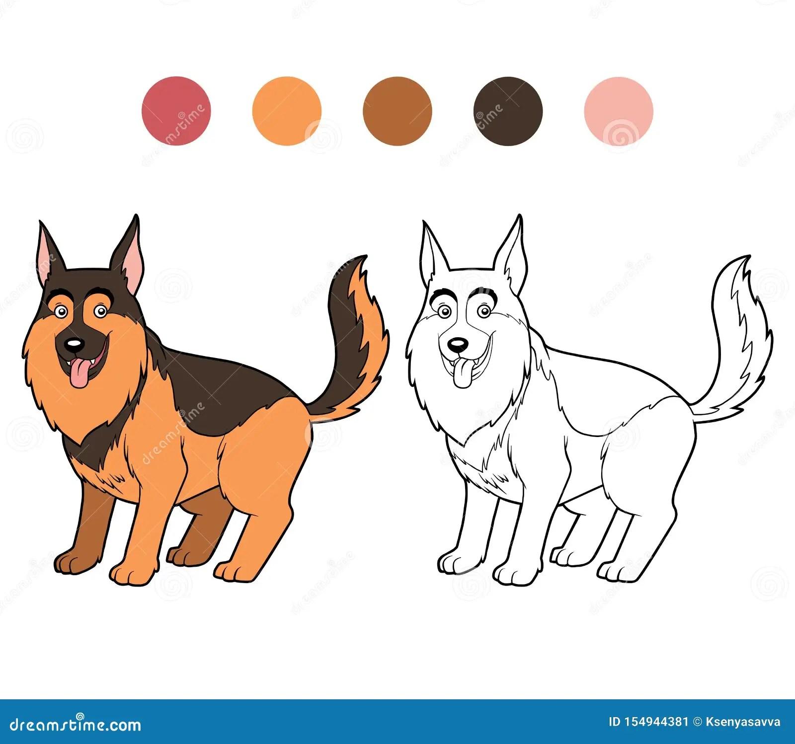 Coloring Book German Shepherd Dog Stock Vector