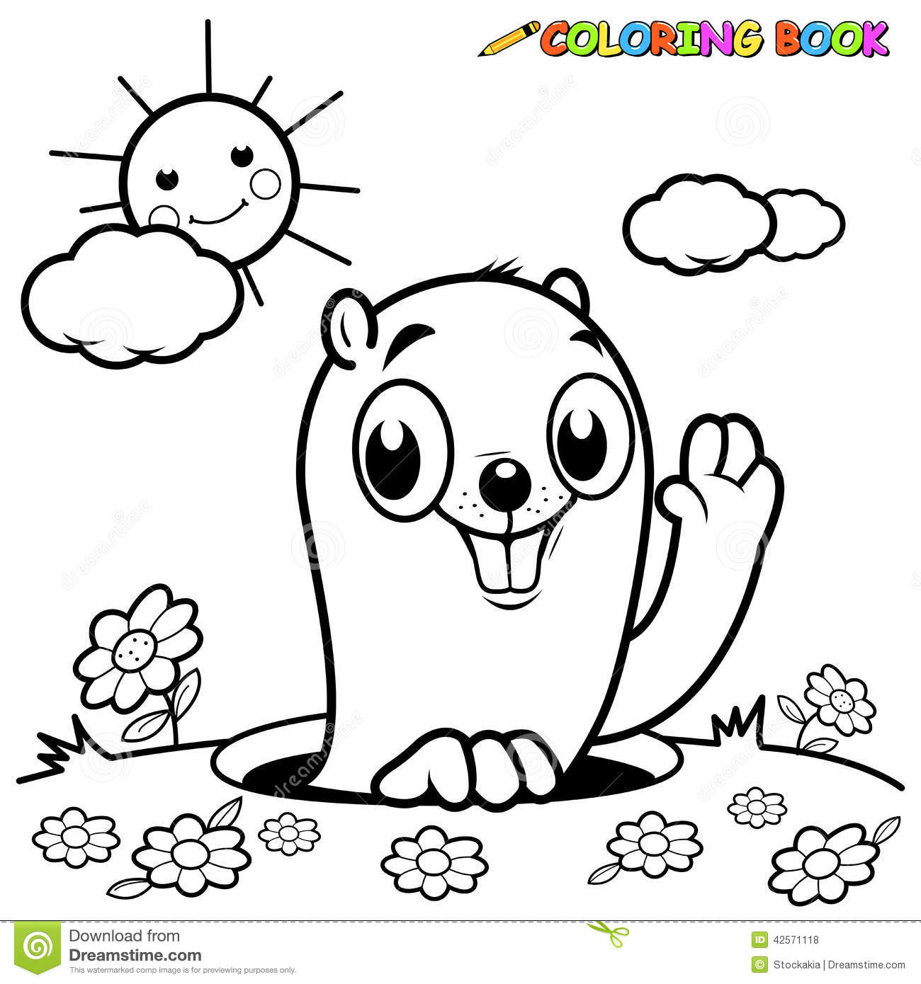 Coloring Book Groundhog Stock Vector Illustration Of