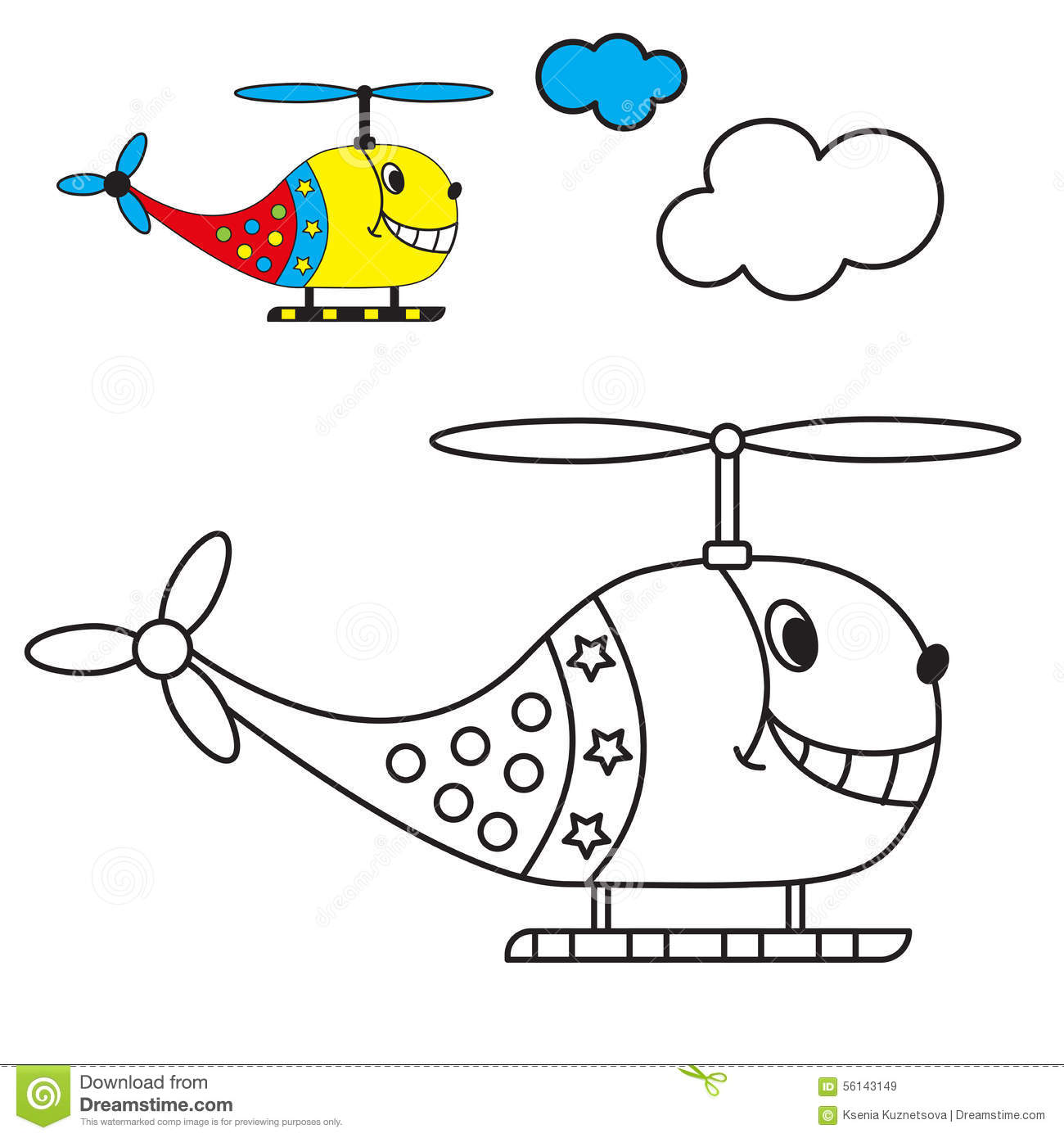 Coloring Book The Helicopter In The Sky With Stock Vector