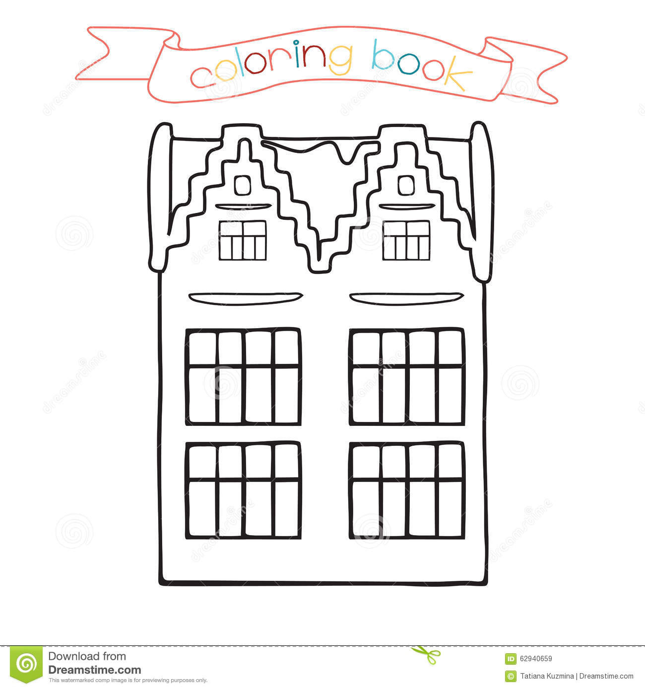 Coloring Book With House Building Vector Illustration For