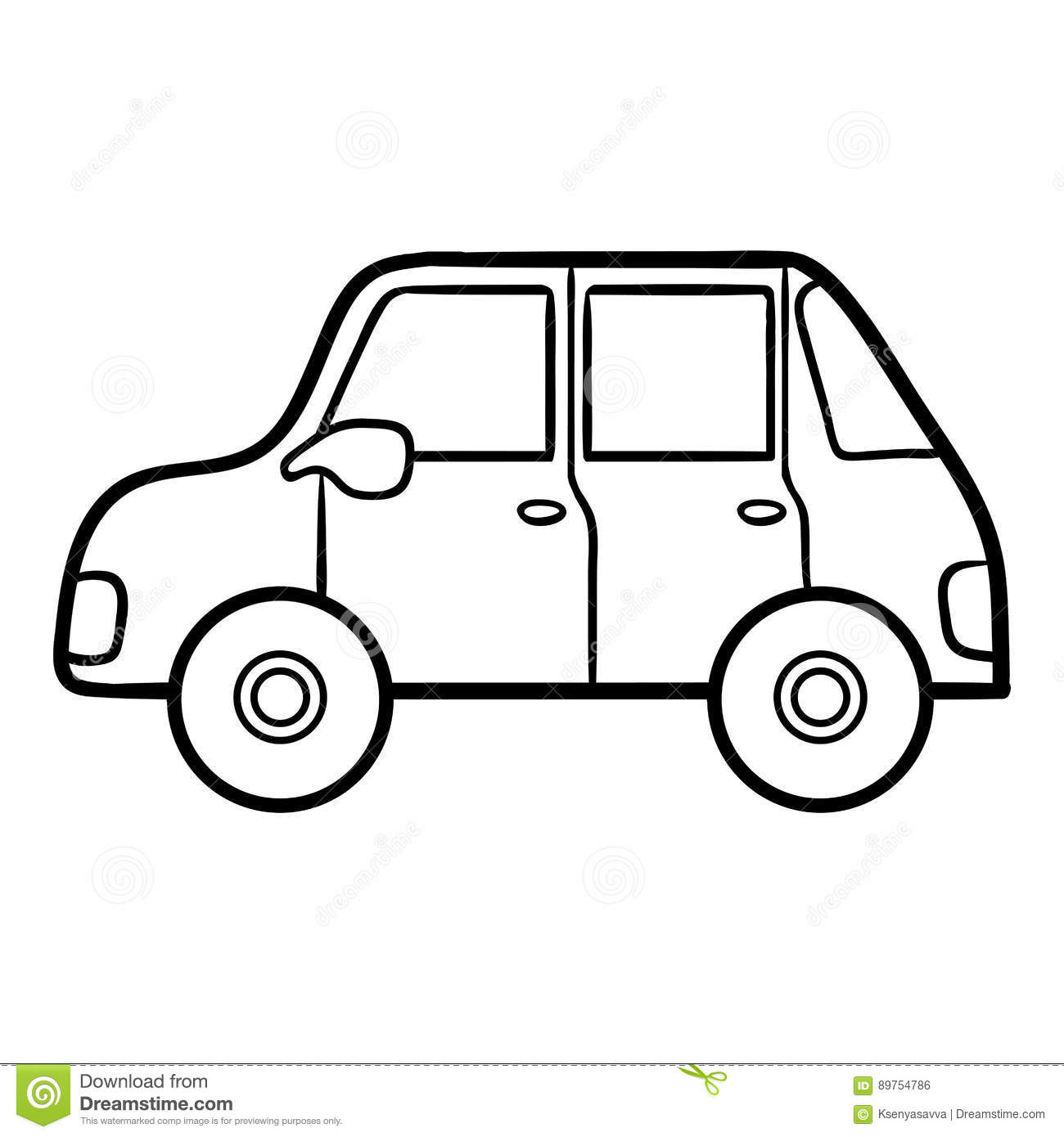 Coloring Book For Kids Car Stock Vector
