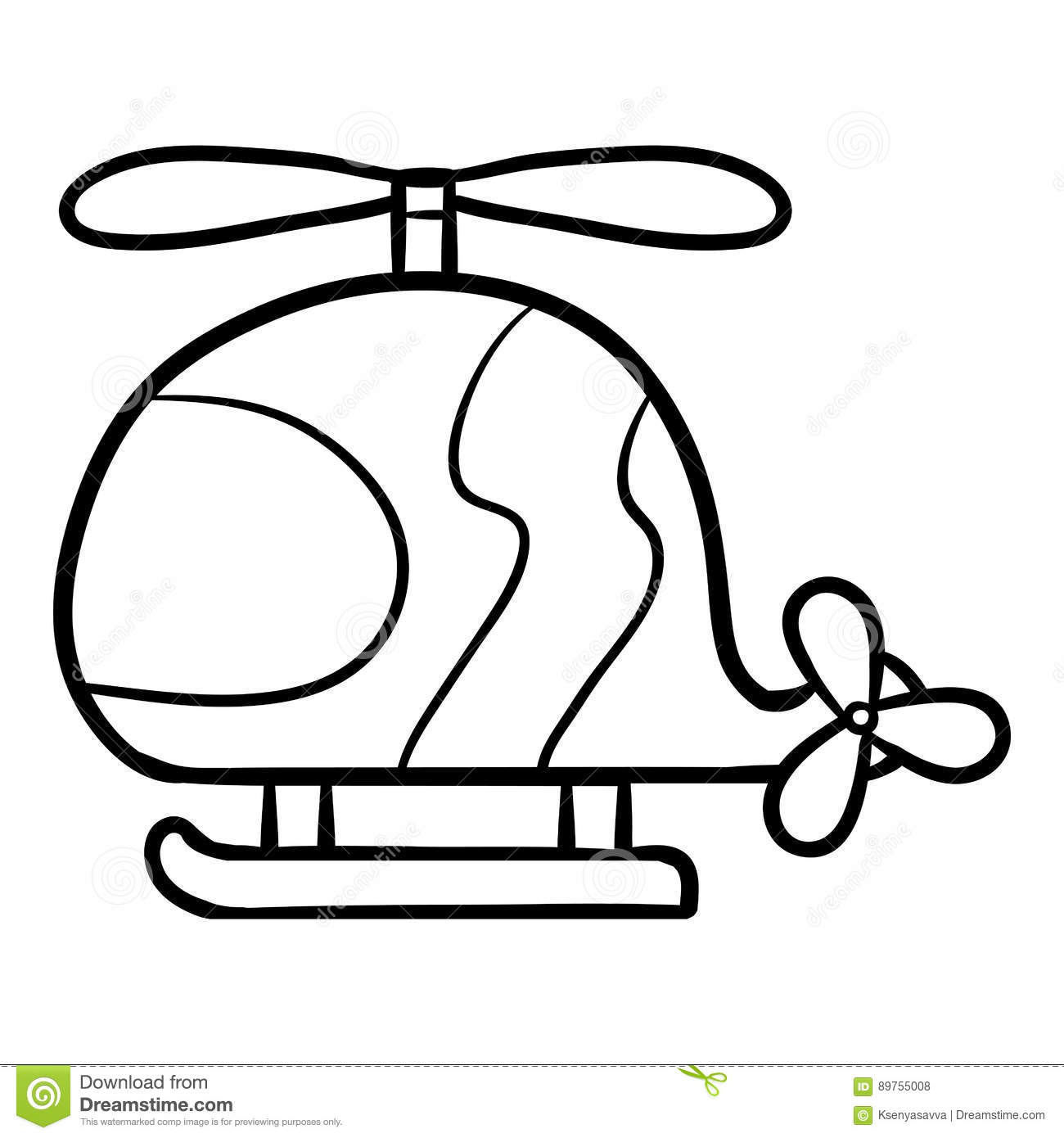 Coloring Book For Kids Helicopter Stock Vector