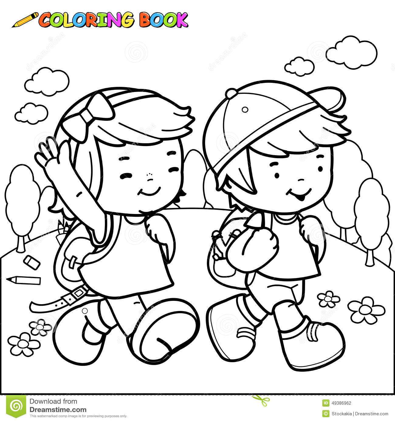 People Walking Carrying Things Coloring Pages