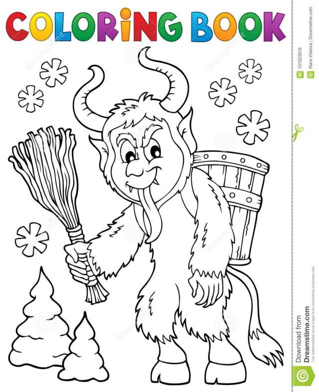 Coloring Book Krampus Theme 18 Stock Vector - Illustration of