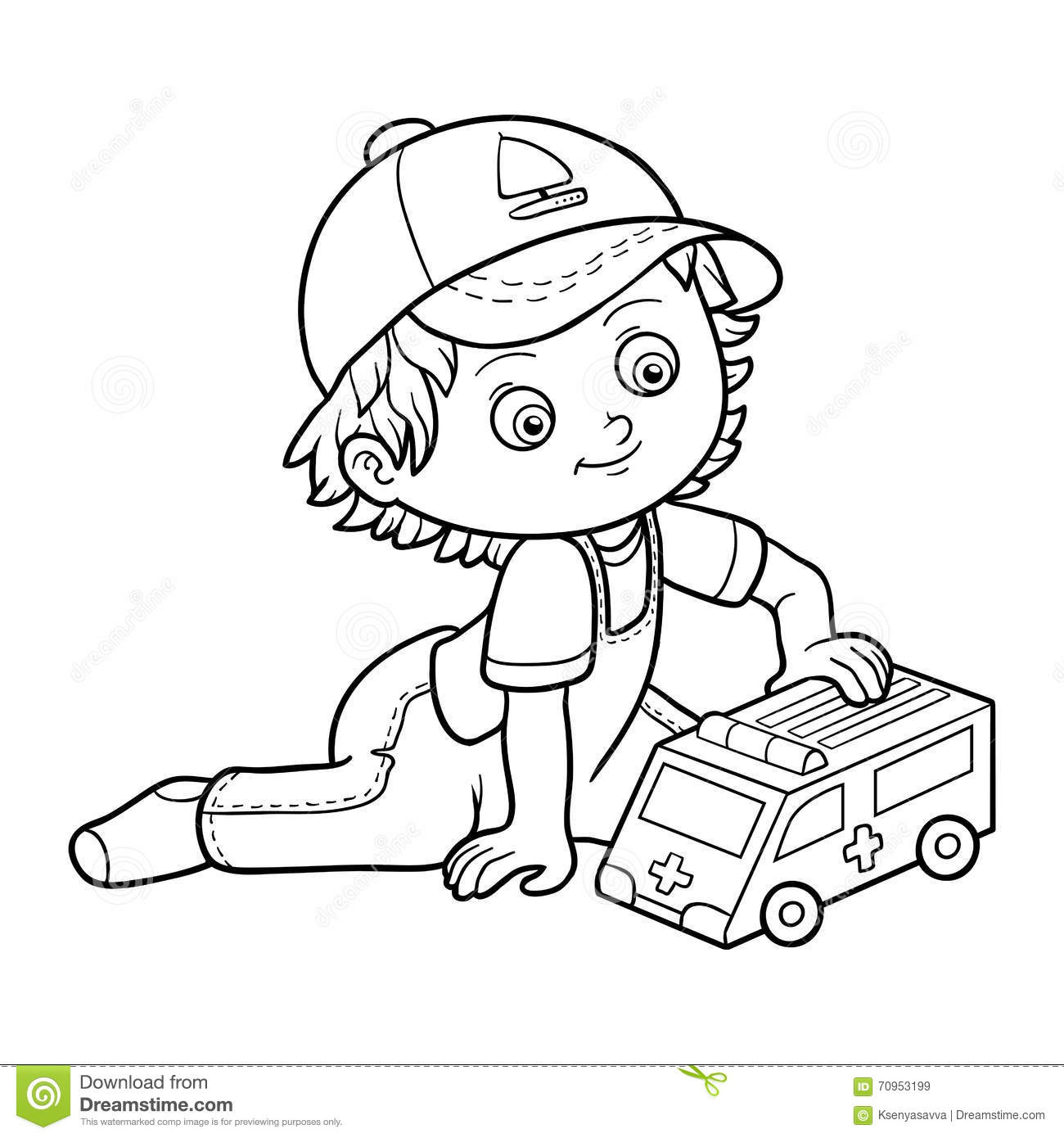 Coloring Book Little Boy Plays With Ambulance Car Stock