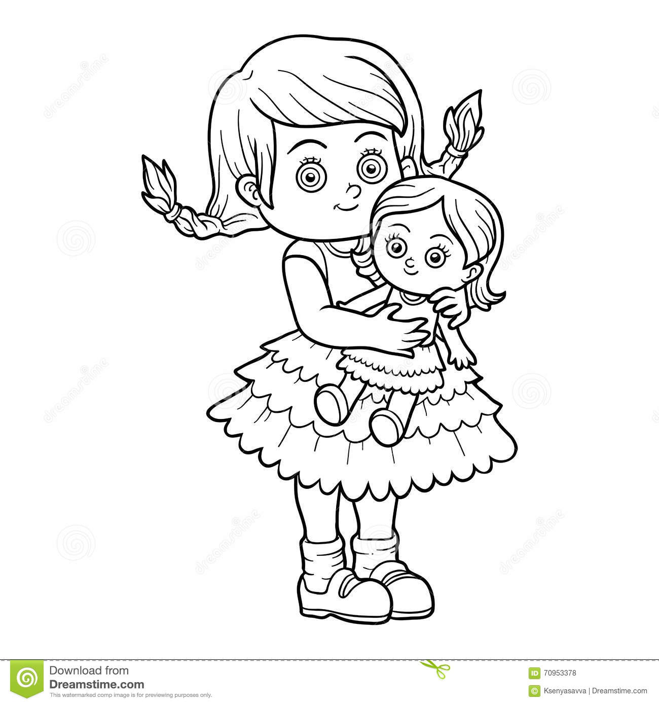 Coloring Book Little Girl With A Doll Stock Vector