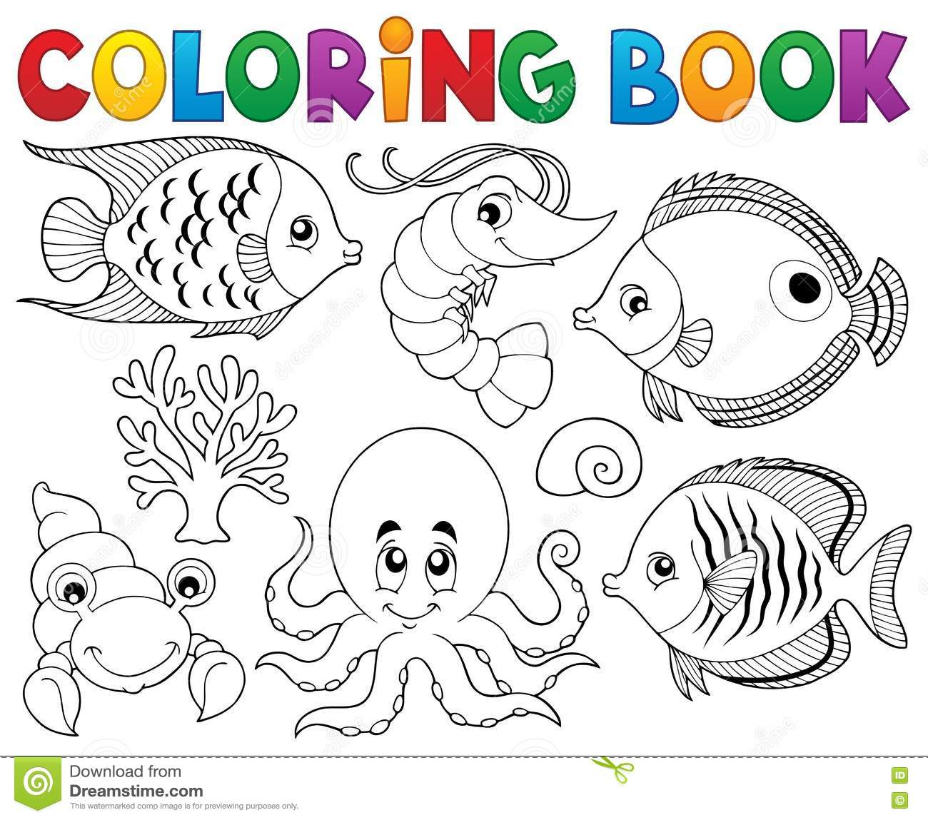 Shrimp Coloring Book Small Marine Cancroid Ocean