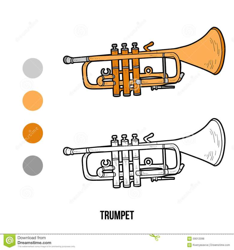 coloring book: musical instruments (trumpet) stock vector