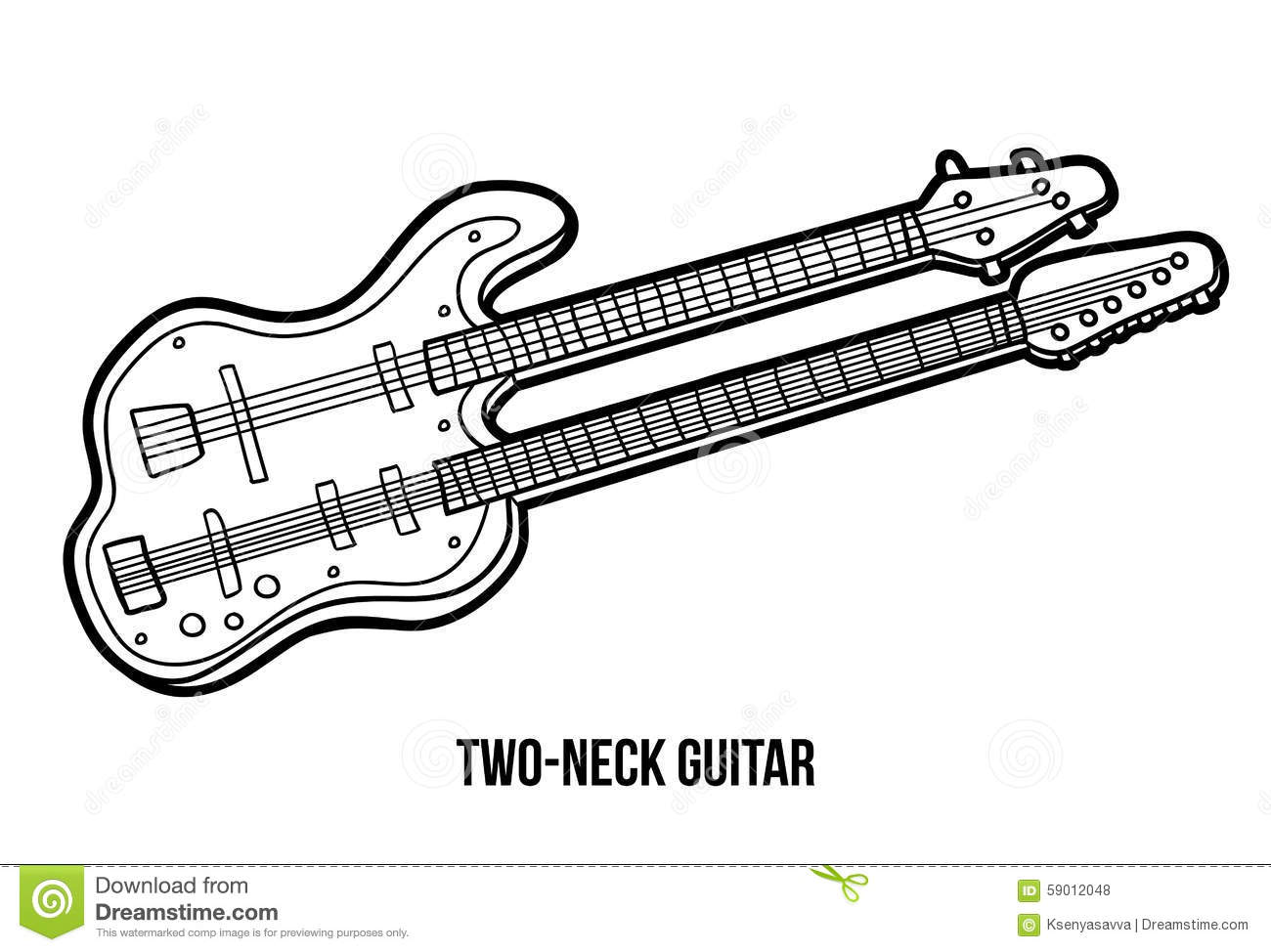 Coloring Book Musical Instruments Two Neck Guitar Stock Vector