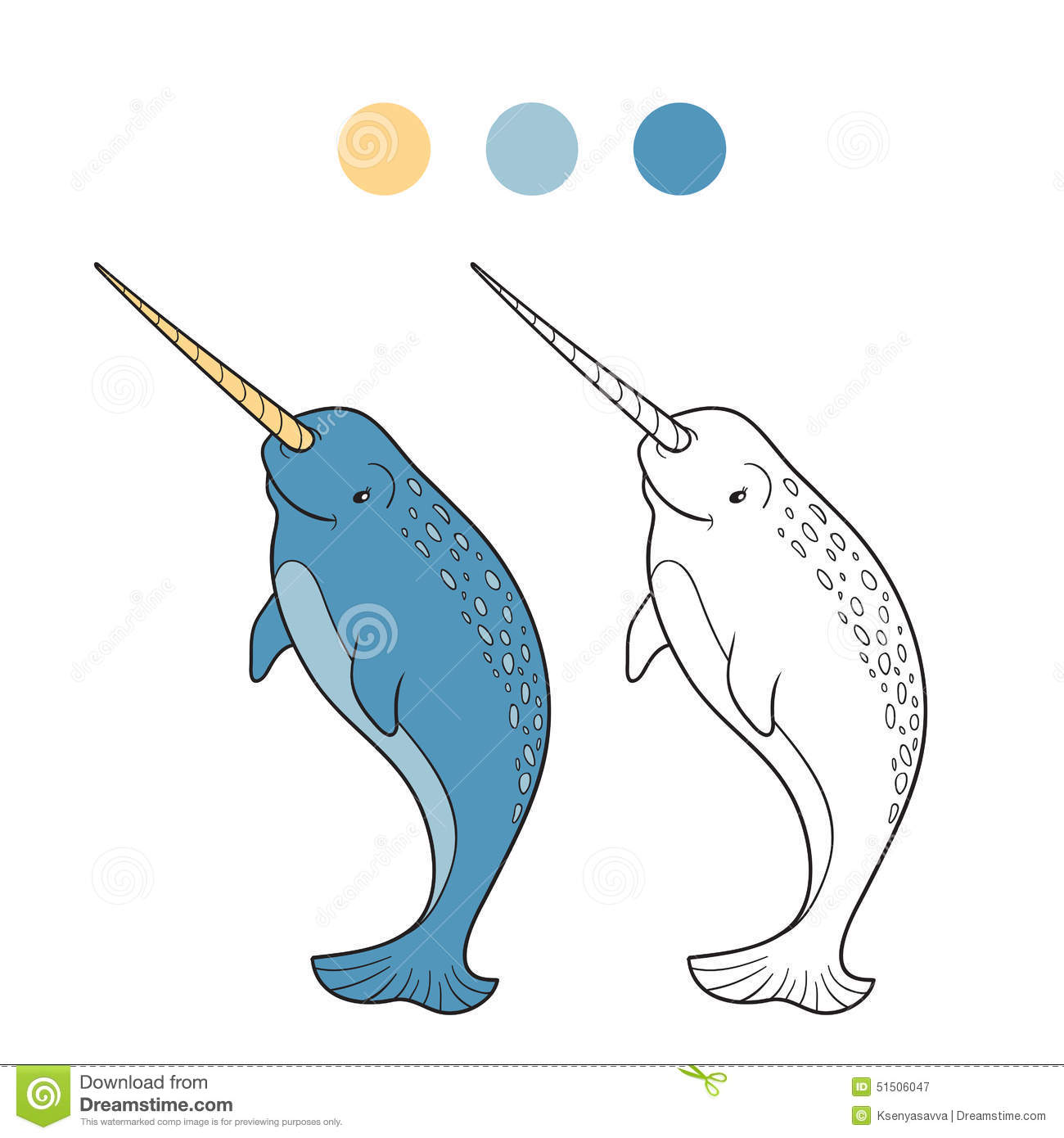 Coloring Book Narwhal Stock Vector Illustration Of