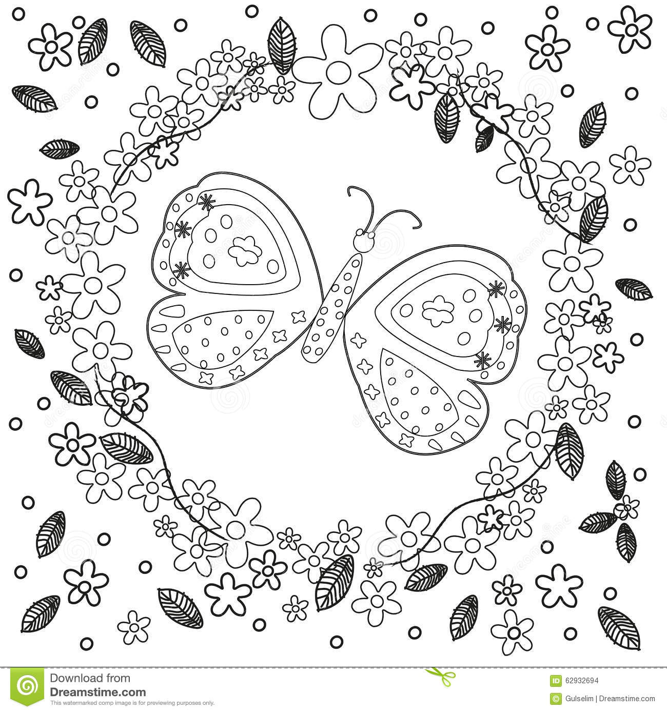 Coloring Book Page For Adults Line Art Creation Flowers