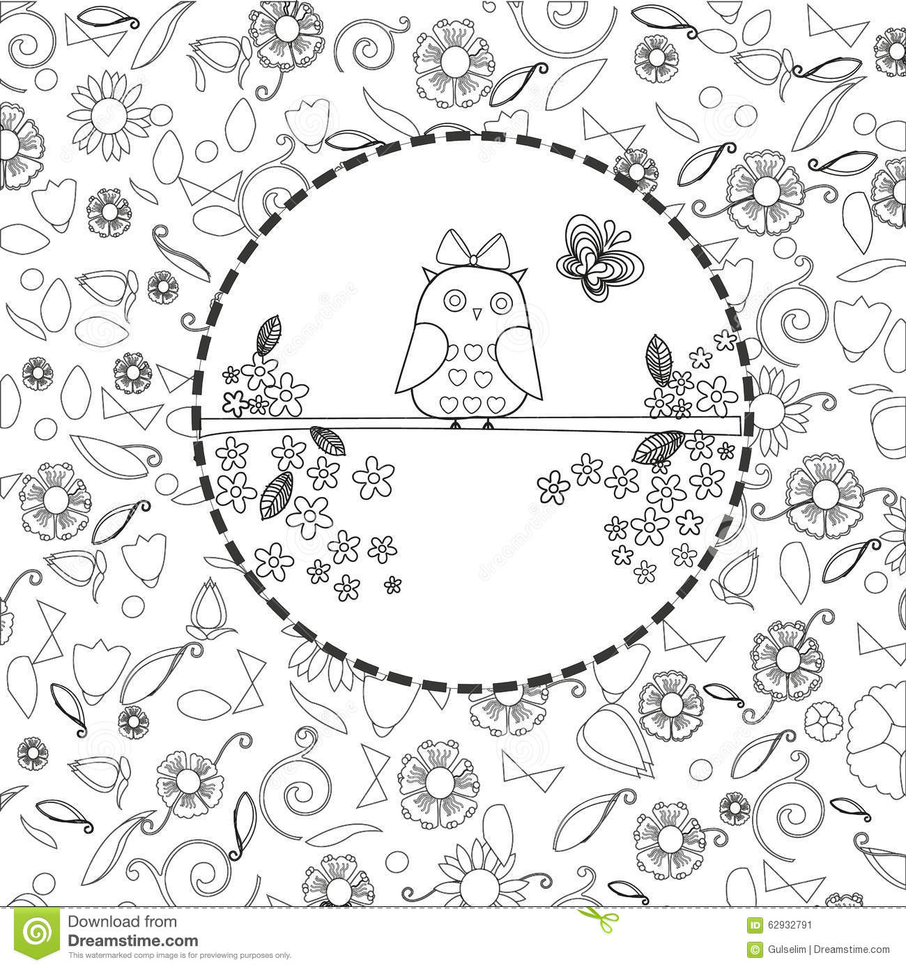 Coloring Book Page For Adults Line Art Creation Owls And