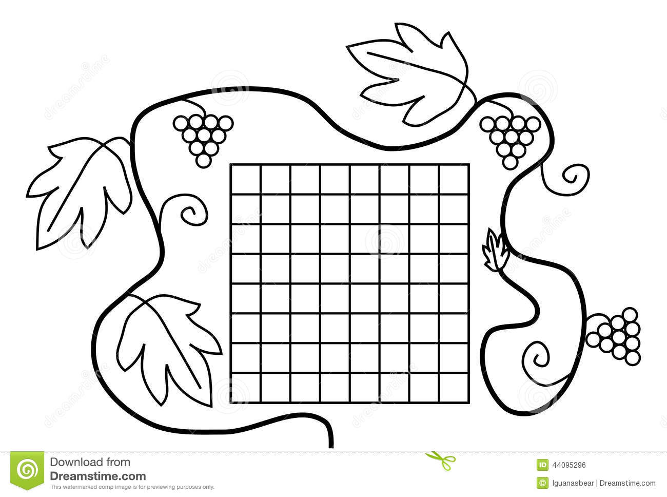 Coloring Book Page Black White School Timetable Stock