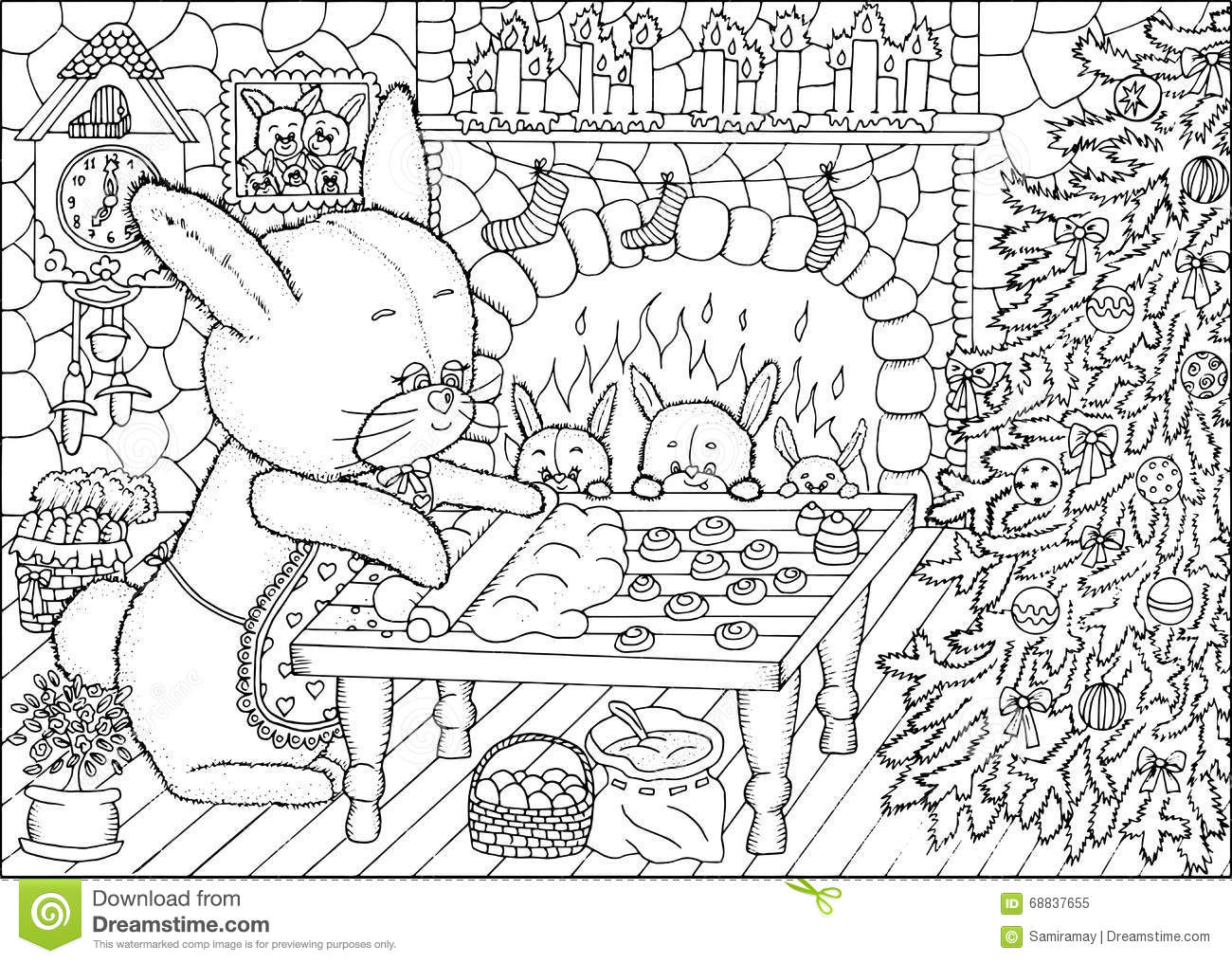 Coloring Book Page Christmas Cookies Stock Vector Image