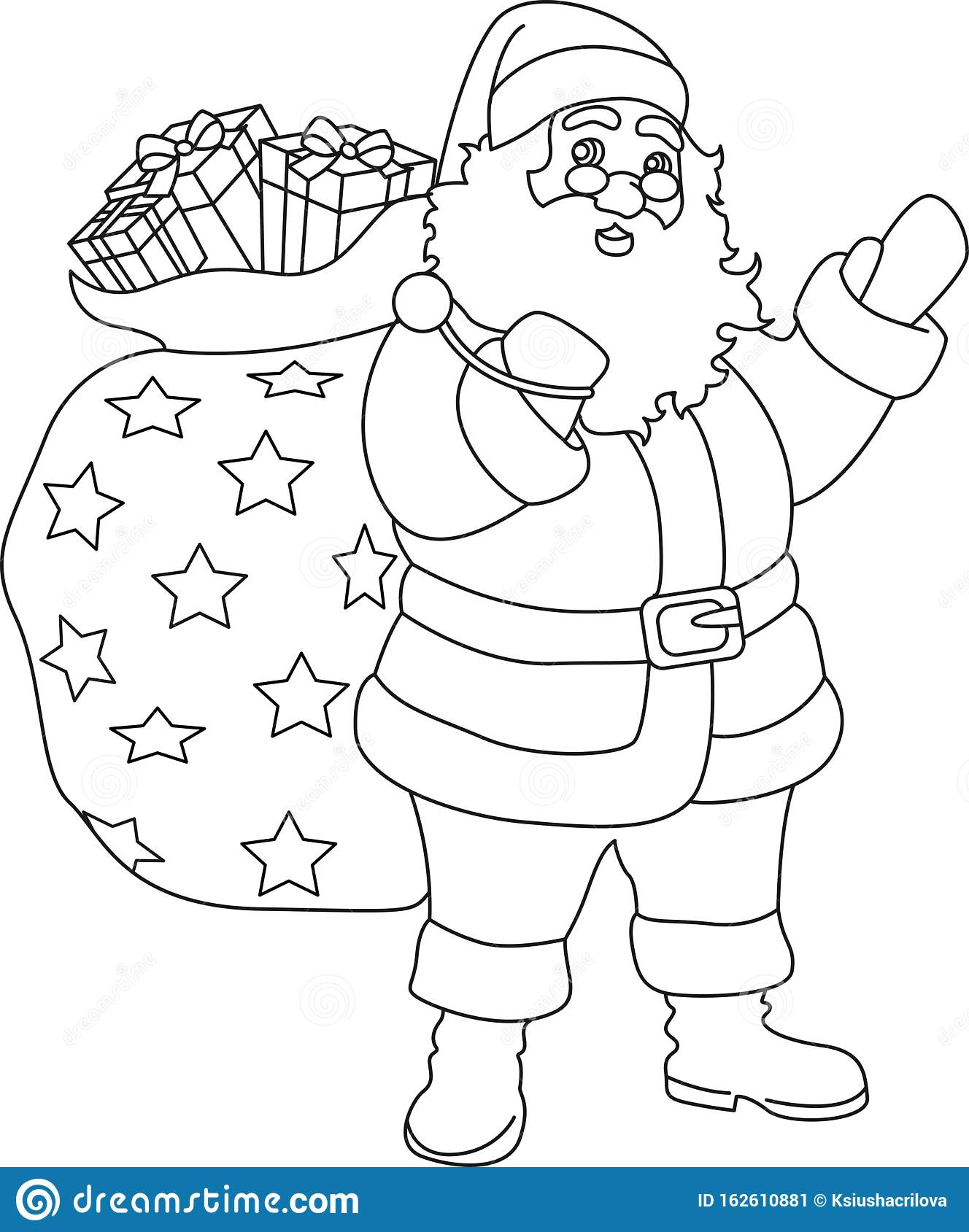 Coloring Book Coloring Pages Christmas Illustration In Outlines Vector Illustration Ready Postcard Santa Stock Vector Illustration Of Gift Cute 162610881