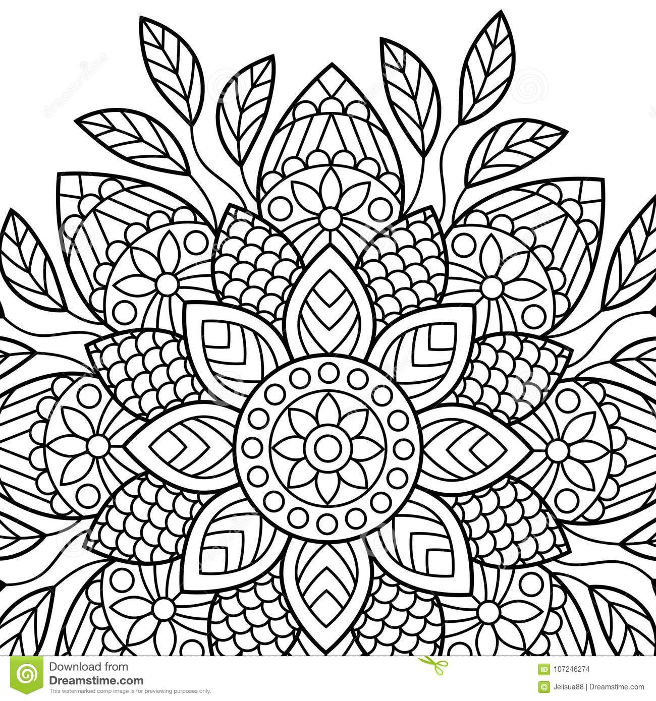 Coloring Book Pages Mandala Indian Antistress Medallion