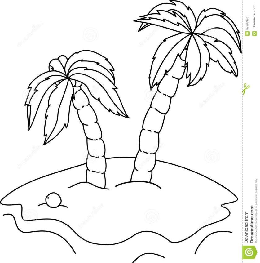 coloring book palm trees stock vector. illustration of