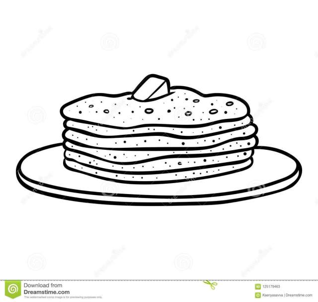 Coloring book, Pancakes stock vector. Illustration of breakfast