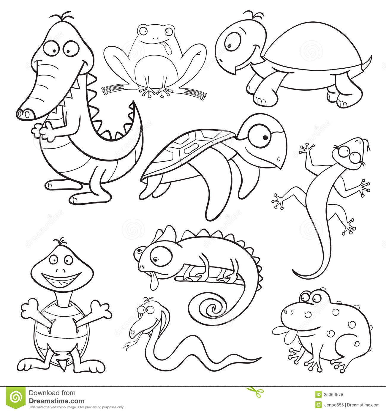 Coloring Book With Reptiles And Amphibians Stock Vector