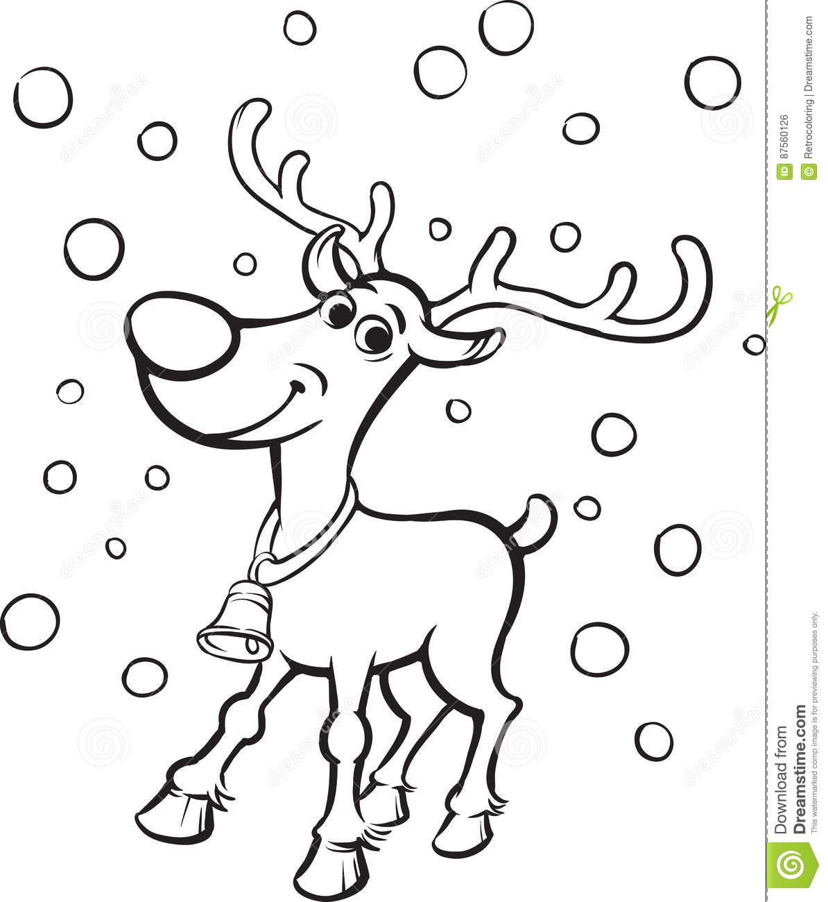 Coloring Book Rudolph The Red Nosed Reindeer Stock Vector Illustration Of Nosed Nose 87560126