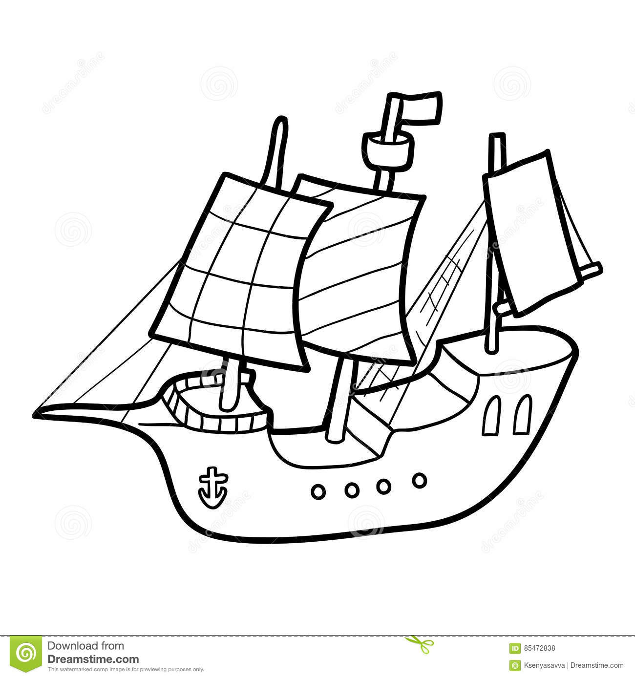 Coloring Book Sailing Ship Stock Vector